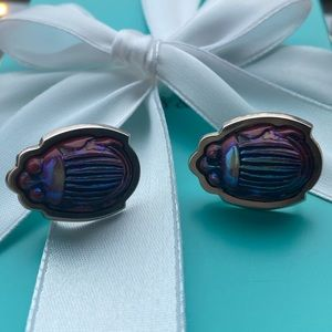Tiffany & Co. Iridescent Scarab Beetle Earrings